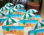 Beach Umbrella Die Cut Personalized Escort  or Place Cards