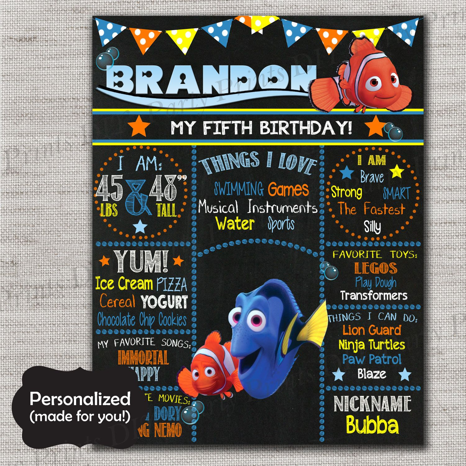Finding Dory Birthday Sign,Finding Nemo Chalkboard Printable Sign ...