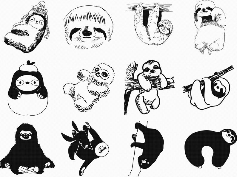 Sloth Svg Eps Png Dxf Clipart For Cricut And Silhouette Etsy In 2021 Sloth Drawing Clip Art Drawings