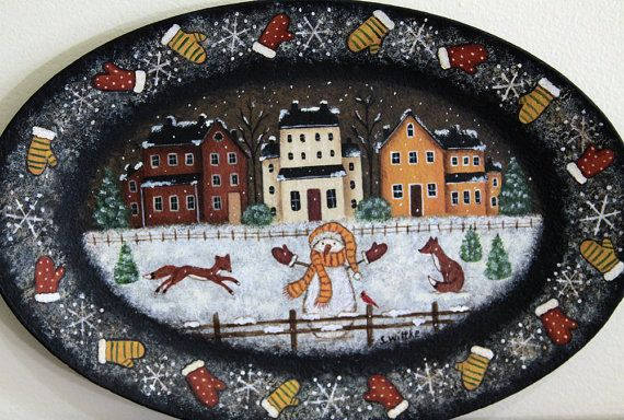 Winter Folk Art Painting Wood Plate Primitive by RavensBendFolkArt & Winter Folk Art Painting Wood Plate Primitive Country Scene ...