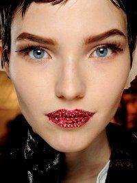 Dior Couture Makeup Spring 2013. How to replicate makeup artist Pat MacGrath adorned Crystal-Studded Lips.