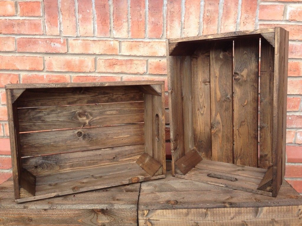 Dark Brown Shallow Crates Baskets Trays Crates Wooden Crates