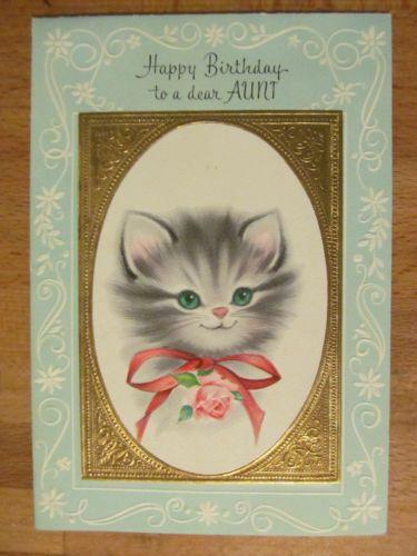 Vintage American Greeting Birthday Card Cat Kitten