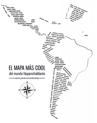 Printable map! How to say \'cool\' throughout the Spanish-speaking ...