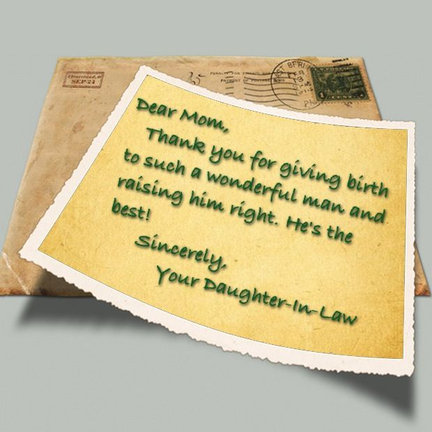 On your husbands birthday send his mother a thank you note