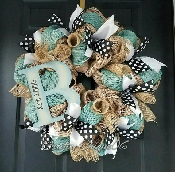 Photo of Initial Burlap Wreath; Personalized Wreath; Everyday Wreath; Burlap Wreath