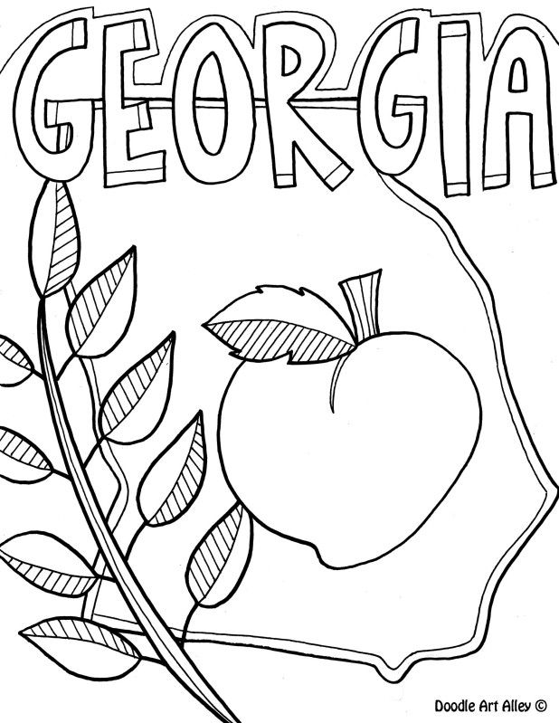Georgia Coloring Page by Doodle Art Alley | USA Coloring Pages ...