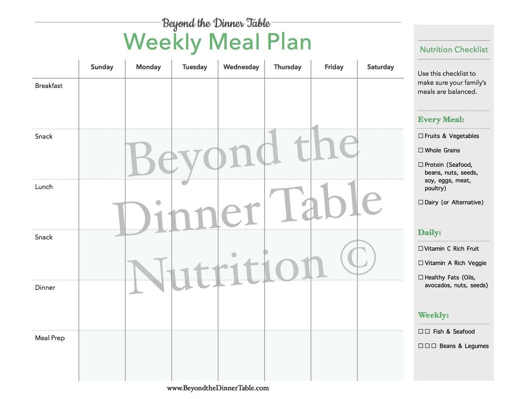 Free Weekly Meal Plan With Simple Nutrition Checklist For