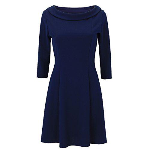 Laeticia Dreams Damen Kleid Rundkragen Knielang 36 38 40 42  Farbe Marineblau Größe  f8285bc45c