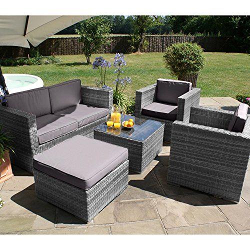 San Go Dallas Baby Rattan Garden Furniture Grey 5 Piece Sofa Set