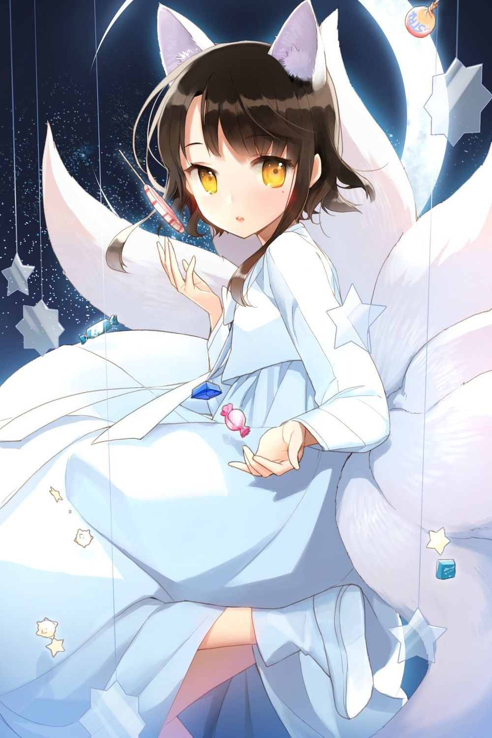 So Cute Anime Fox Girl Nine Tailed Fox White Hairs Korean
