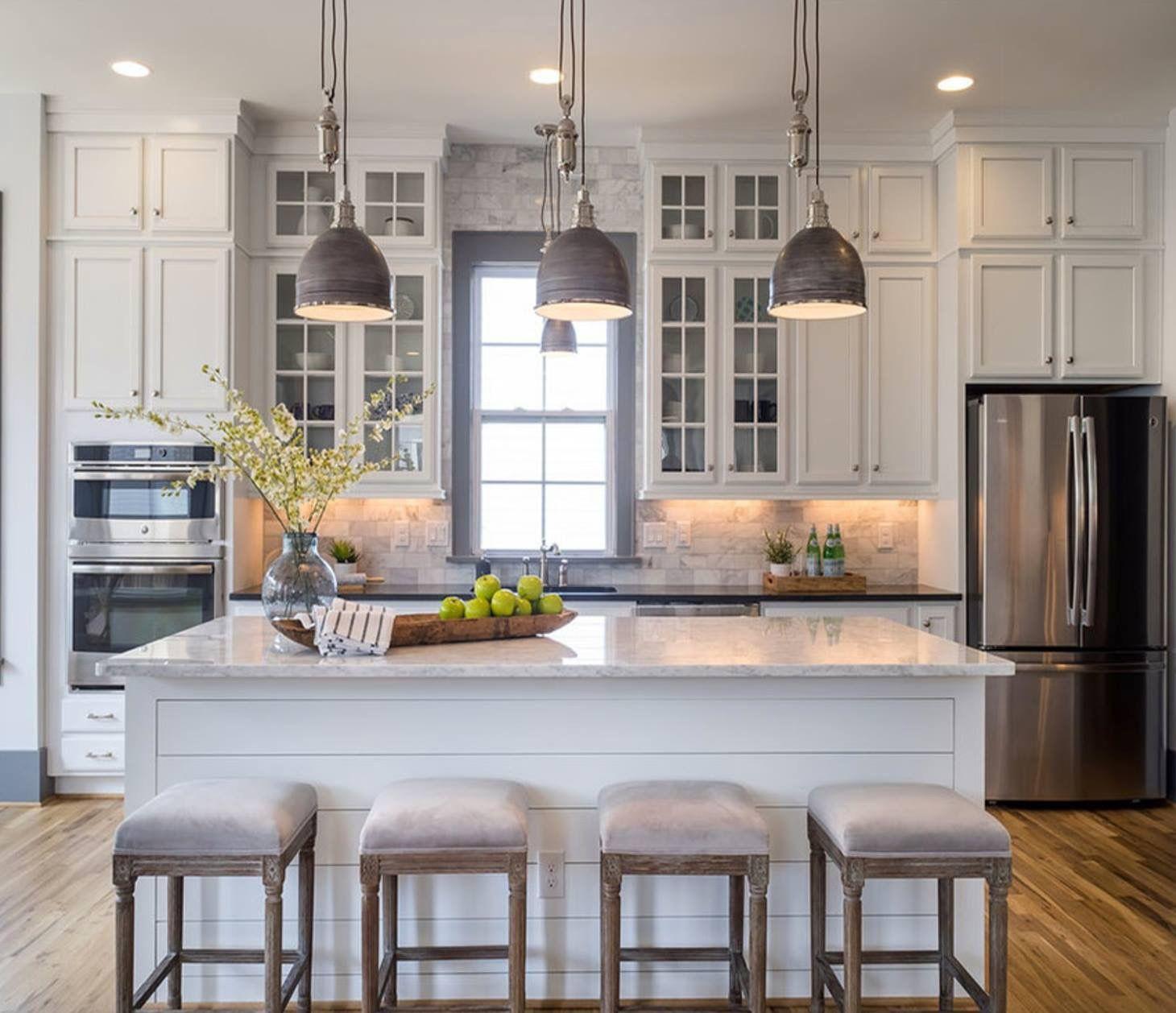I like the Background tile/brick   White kitchen design ...