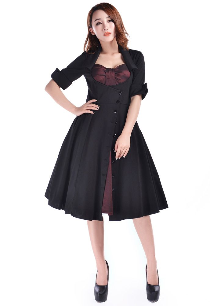 Rockabilly Side Button Bow Dress By Amber Middaugh Plus Size 6595