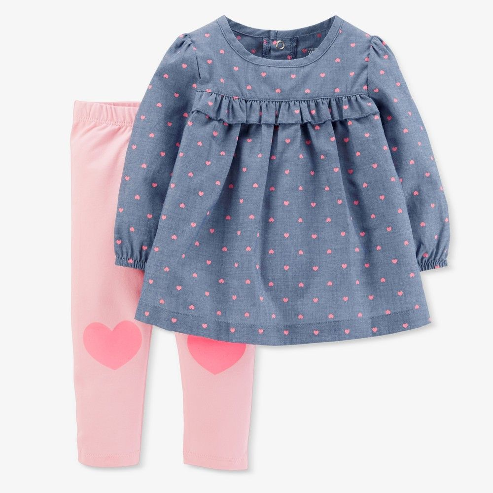 74d7c73b7 Baby Girls' Hearts 2pc Chambray Pants Set - Just One You Made by Carter's  Blue 12M