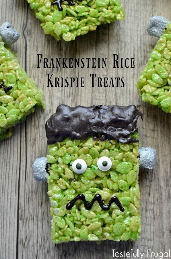 frankenstein rice krispie treats recipe holidays halloween diy pinterest easy halloween treats easy halloween and rice krispie treats