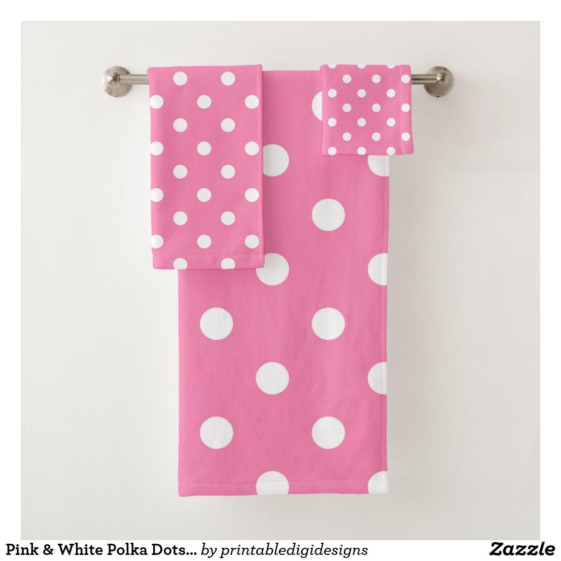 Pink White Polka Dots Dot Bath Towel Set Zazzle Com Bath