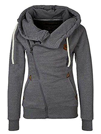 Women Ladies Hoodies Sweatshirt Long Sleeve Slim Fit Outwear Casual Buttons Coat