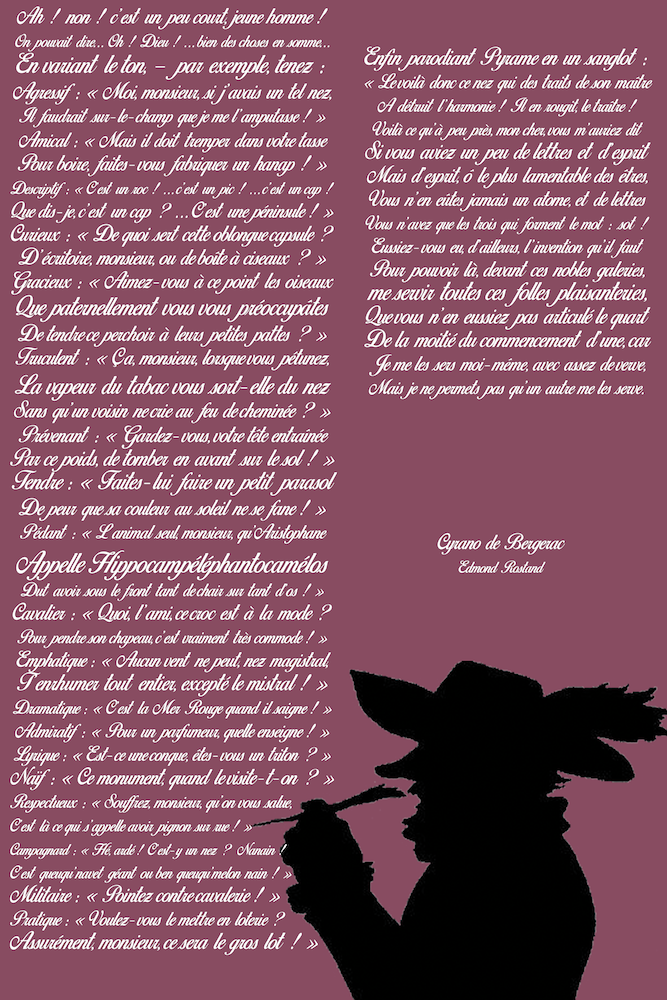 Cyrano De Bergerac La Tirade Du Nez : cyrano, bergerac, tirade, Tableau, Personnalisé, Tirade, Cyrano, Bergerac, Bergerac,, Décoration, Texte
