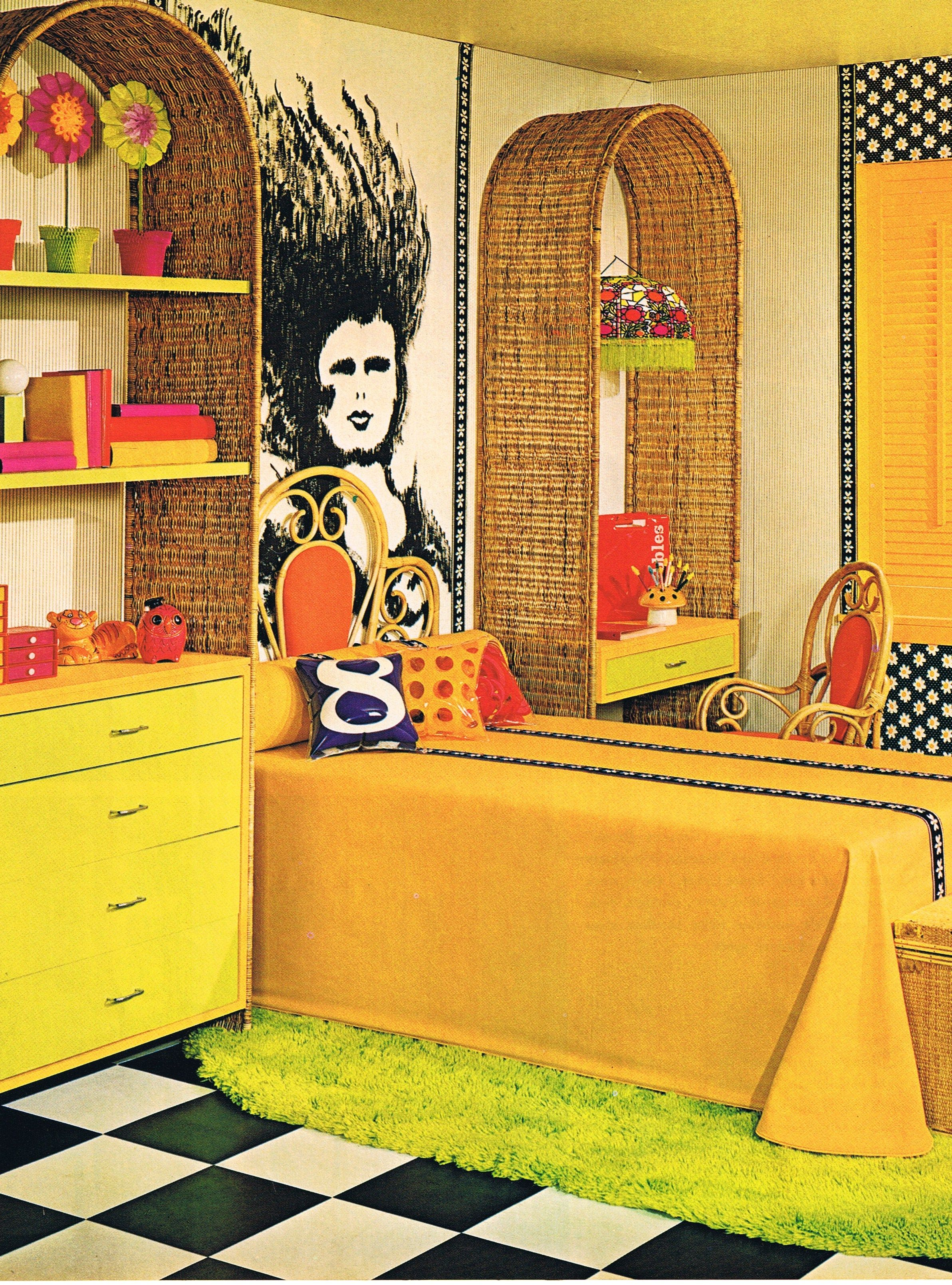 1960s interiors were known for their bright colours and \'hippy ...