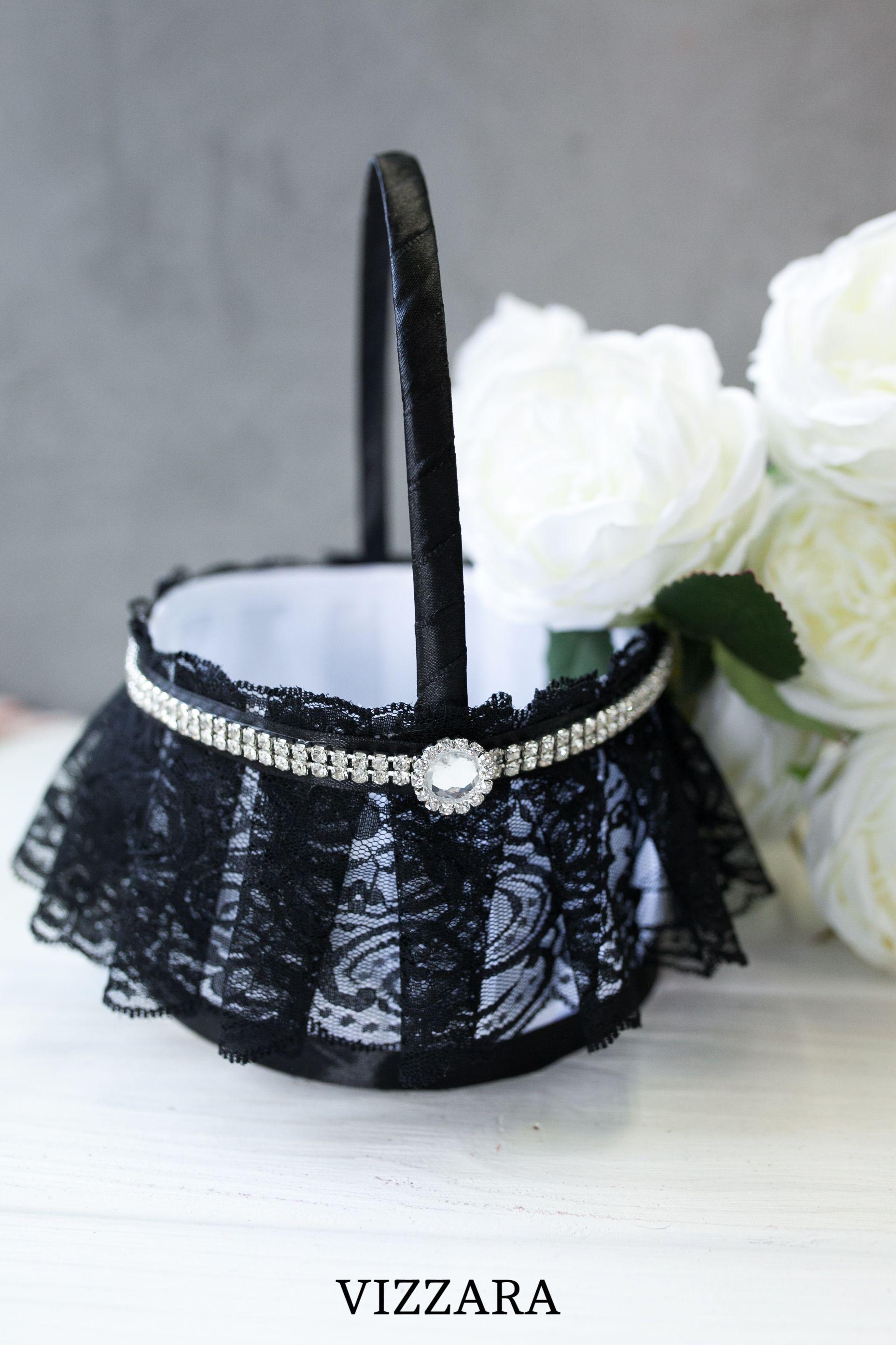 Flower girl baskets Black tie wedding Wedding basket Black tie optional wedding The black wedding Flower girl flower basket ideas Black