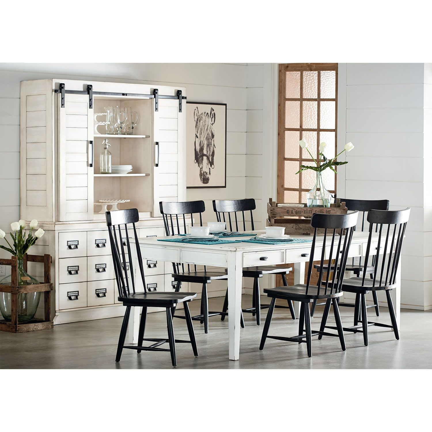 Farmhouse Keeping Table, Six Farmhouse Spindle Back Chairs and Two ...