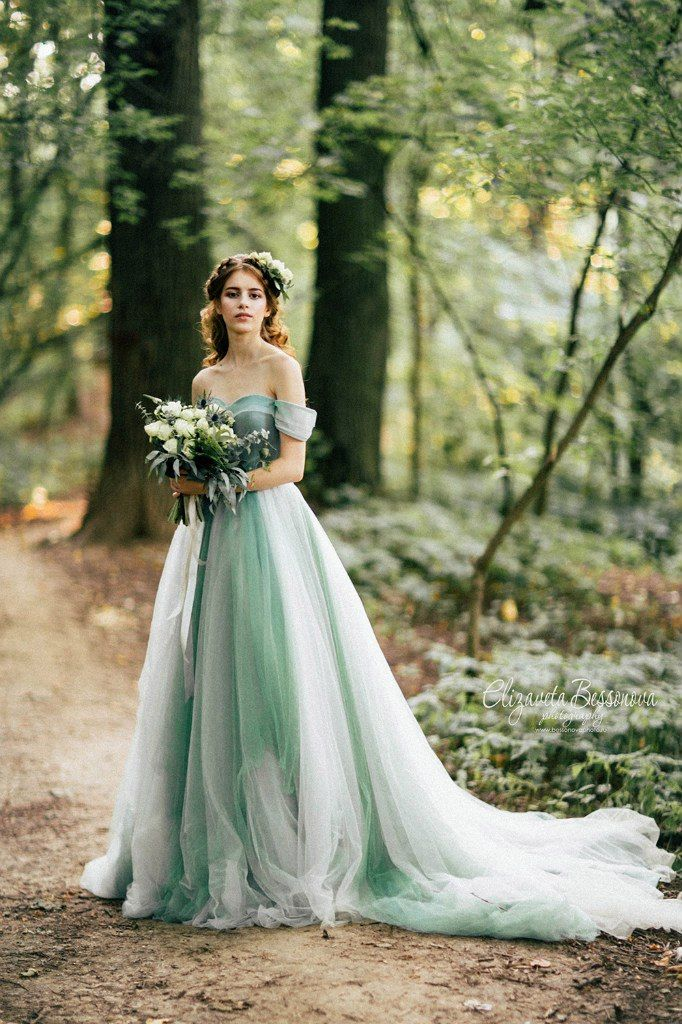 Pin By Carebear78 On Green Wedding Palette Inspiration Unusual Wedding Dresses Green Wedding Dresses Ombre Wedding Dress