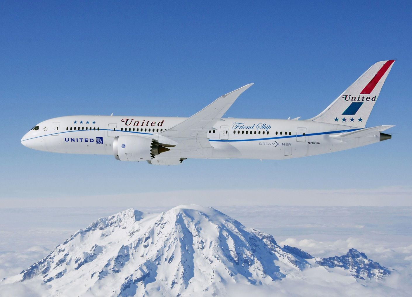 Retro United Airlines Livery, Boeing 787... looks lighter