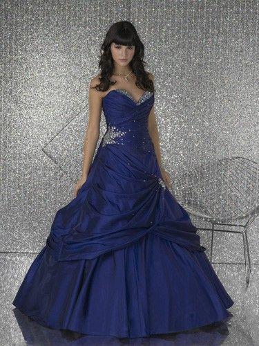 A-line Royal Blue Sweatheart Beads Ruffles Floor Length Dress Společenské  Šaty 3918f98efb