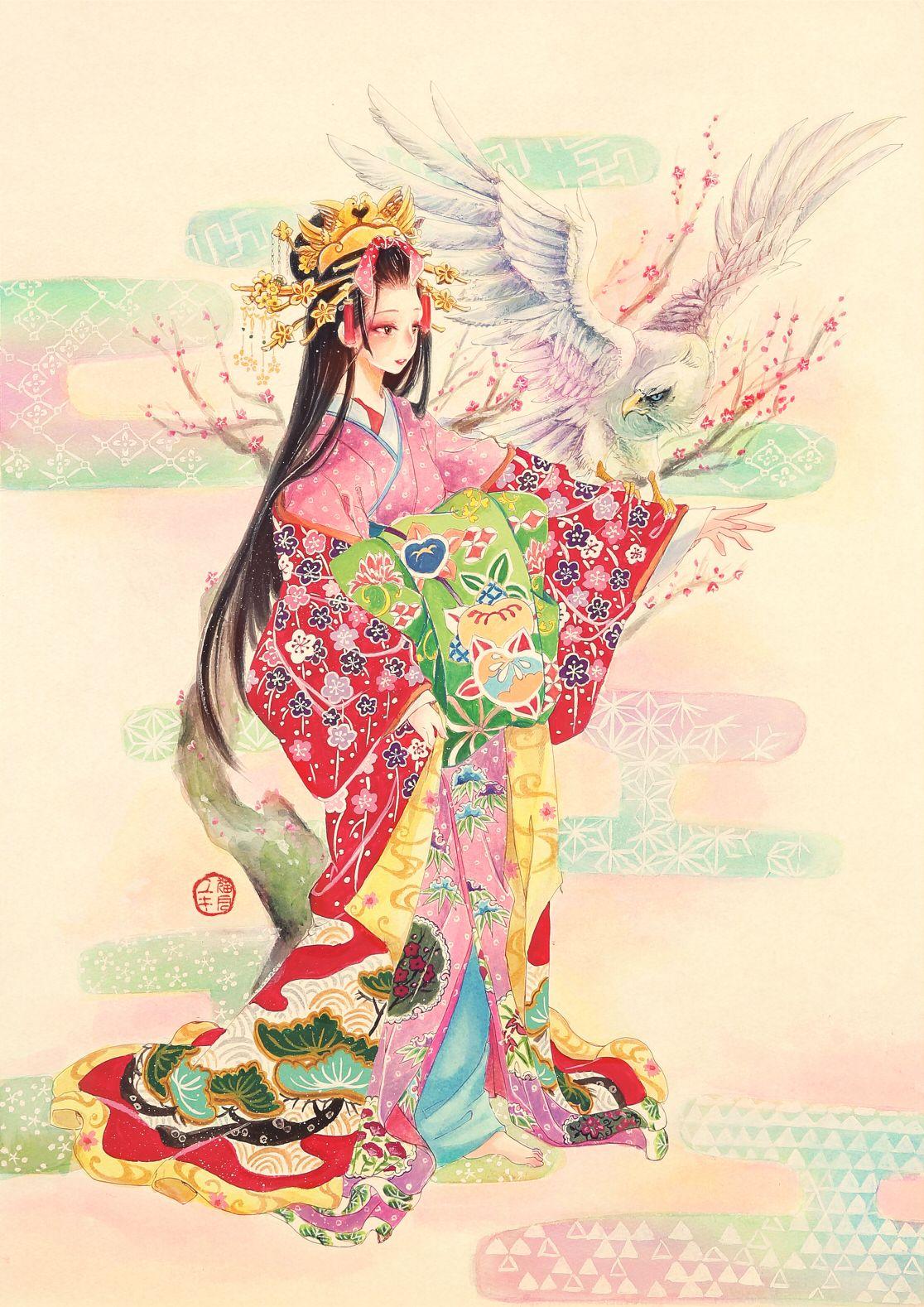 花魁戯獣図白鷹猫月ユキ絵仕事募集中のイラスト Pixiv