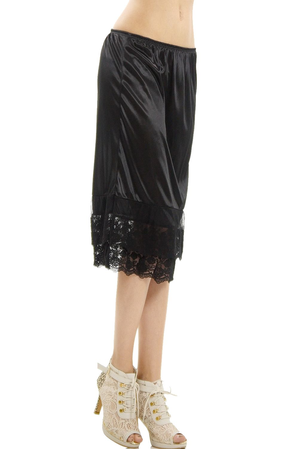 0810744e9fbe Women's Long Double Layered Lace Satin Skirt Extender Underskirt Half Slip# Layered, #Lace