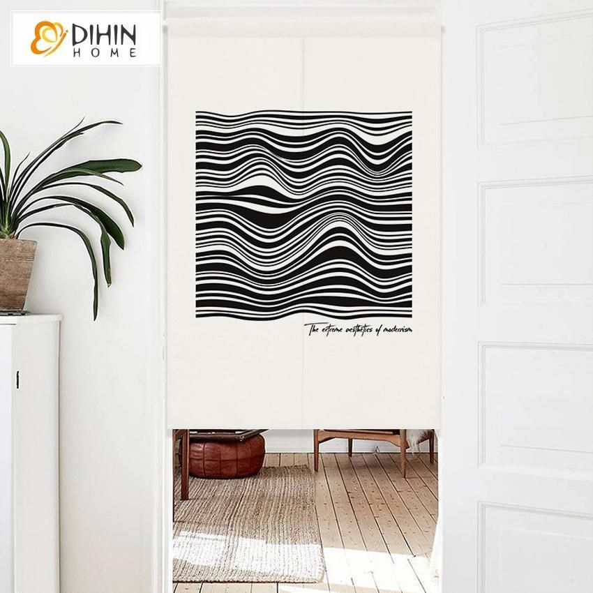 Dihin Home Modern Abstract Lines Printed Japanese Noren Doorway