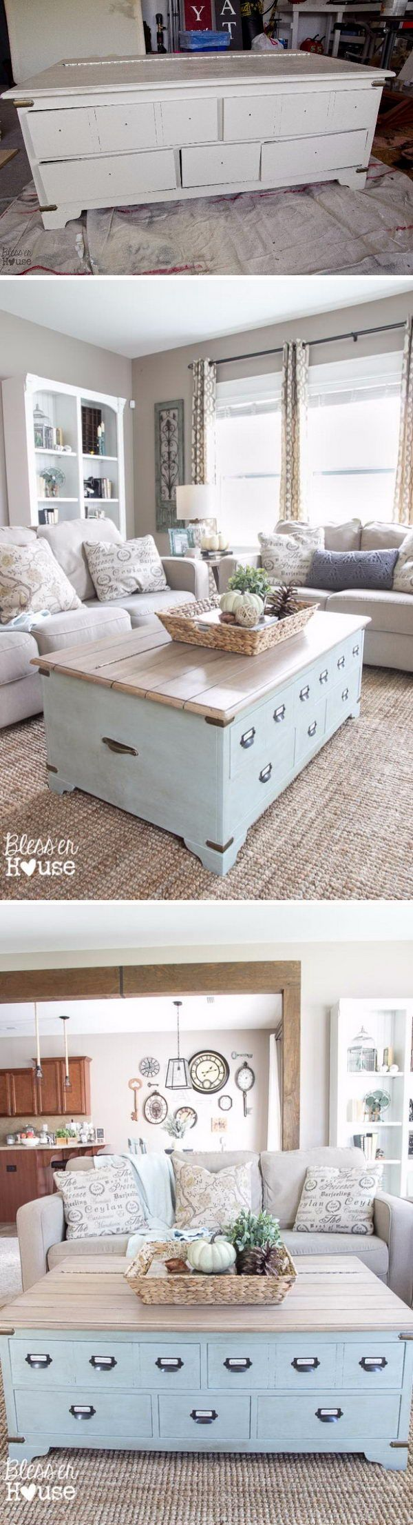 Amazing diy ideas to transform your old furniture kitchen 50 faux planked coffee table makeover from a trunk coffee table love the kitchen gallery geotapseo Choice Image