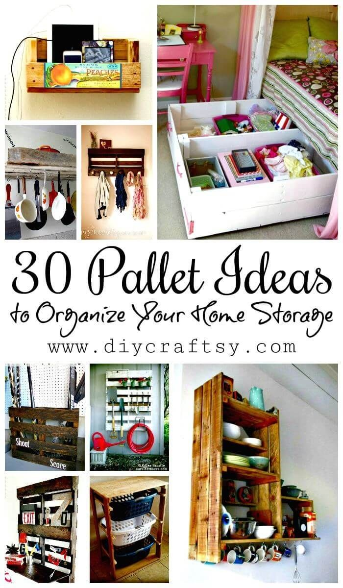 30 Pallet Ideas to Organize Your Home Storage | Pallets, Organizing ...