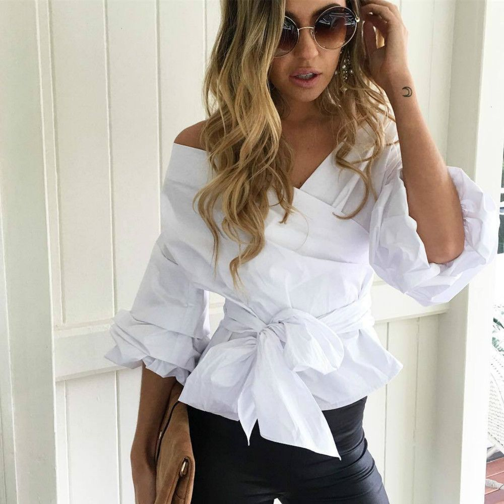 Cheap women blouse 2012, Buy Quality women warm up suits directly from China blouse chiffon Suppliers: 			Autumn Sexy Ruched Sleeve Cool Blouse Womens Ruffled Off Shoulder White Blouse Shirt Women Waist Tie Cotton Top Tees