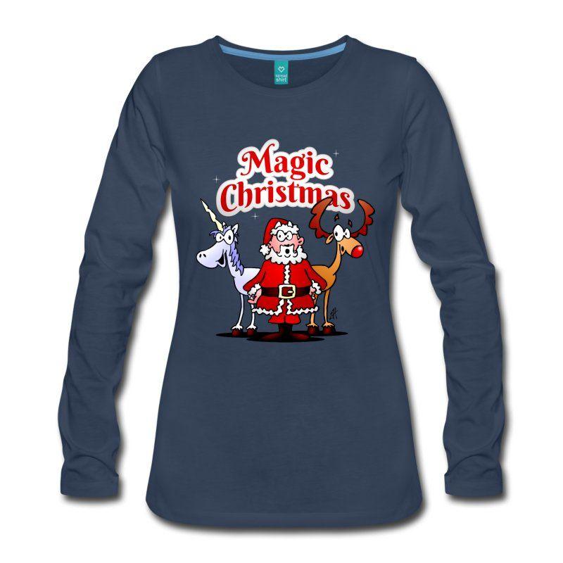 Santa Claus, his reindeer and a unicorn long sleeve T-Shirt.  #Christmas #Tshirt #sweater #Unicorn #reindeer #santa #santaclaus #Cardvibes