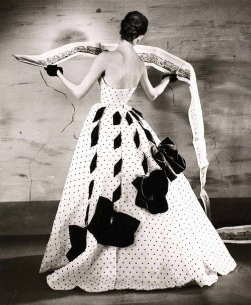 Suzy Parker wearing a gown by Jacques Fath, 1953. Photo by Louise Dahl-Wolfe.