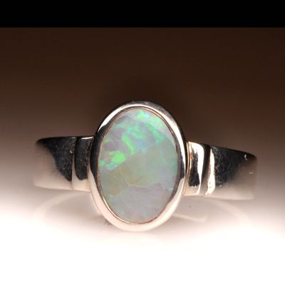 Natural Solid Light Opal Sterling Silver Ring