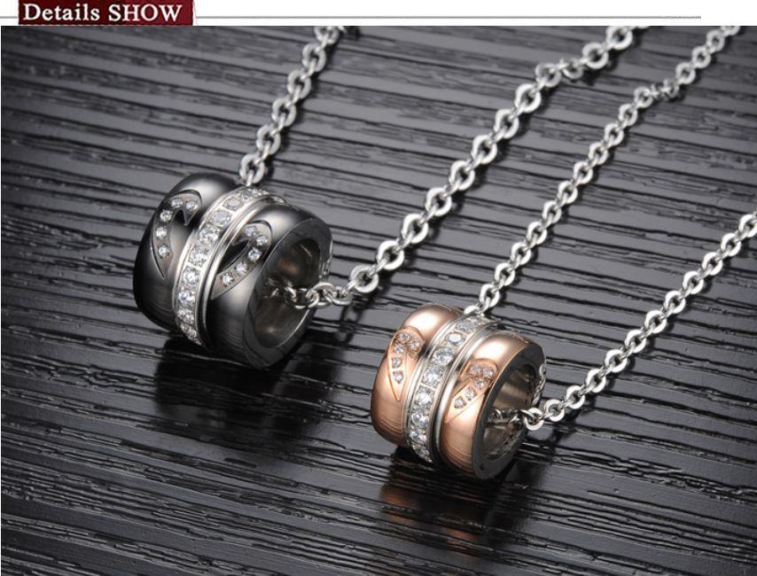 0be4232ef8 Hot Titanium Steel Promise Love Wedding Love Mosaic Zircon Love Couple  Necklaces