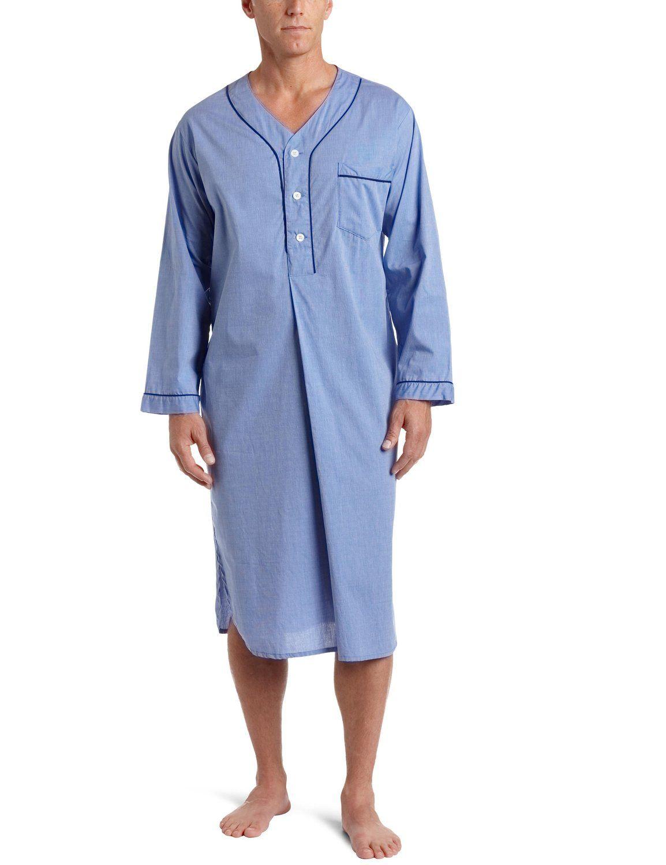 Men/'s Night Shirt Nightshirt Nightwear Sleepwear Cotton Hospital Stay Grey,Blue