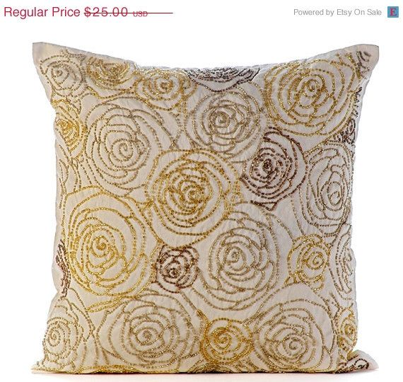 Luxury Gold Pillows Cover 16 X16 Silk Pillows Cover Square Beaded Rose Flowers Floral Theme Glitter Pillows Cover Gold Dust Rose With Images Silk Pillow Cover Gold Pillow Covers Gold Pillows