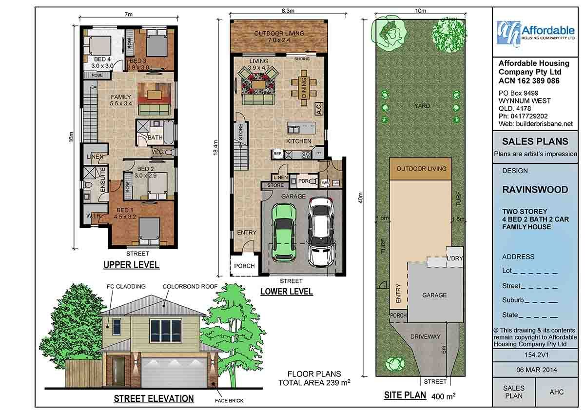 House with open floor plans on two story narrow lot house for Narrow lot house plans