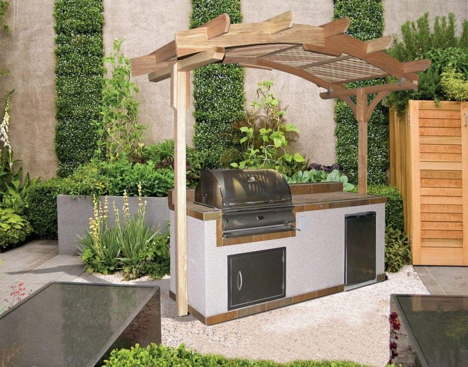 Cool Small Outdoor Kitchen Gazebo Pergola Design Lp Gas Built In Bbq Grill Ceramic Tiled Counterrtop O Built In Bbq Grill Built In Grill Outdoor Kitchen Design