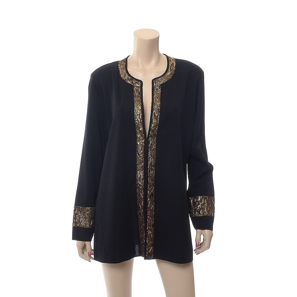 Exclusively MISOOK Jacket size XL Black with Gold Metallic Knit ...