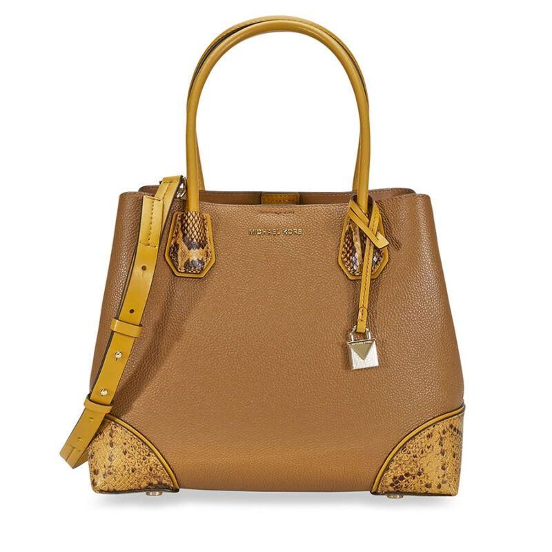 f1742cbcafd2 Michael Kors Mercer Gallery Pebbled Leather Shoulder Bag - Acorn  30F8GZ5T6T-203