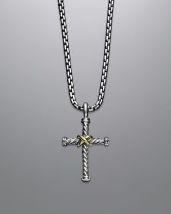 X cross with gold on chain cross necklaces cable and top designers cable classics cross necklace by david yurman at neiman marcus aloadofball Images