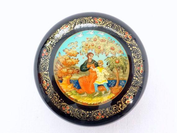 Handmade Trinket Box Russian Folk Tale Vintage Hand Painted Souvenir Firebird Old Jewelry Box Russian Lacquer Box Palekh Painting