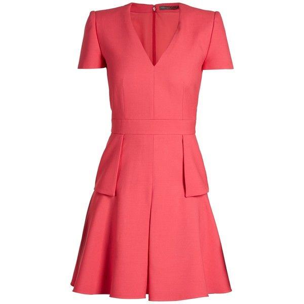 V-neck peplum-waist wool and silk-blend dress Alexander McQueen hDAFAnLIk