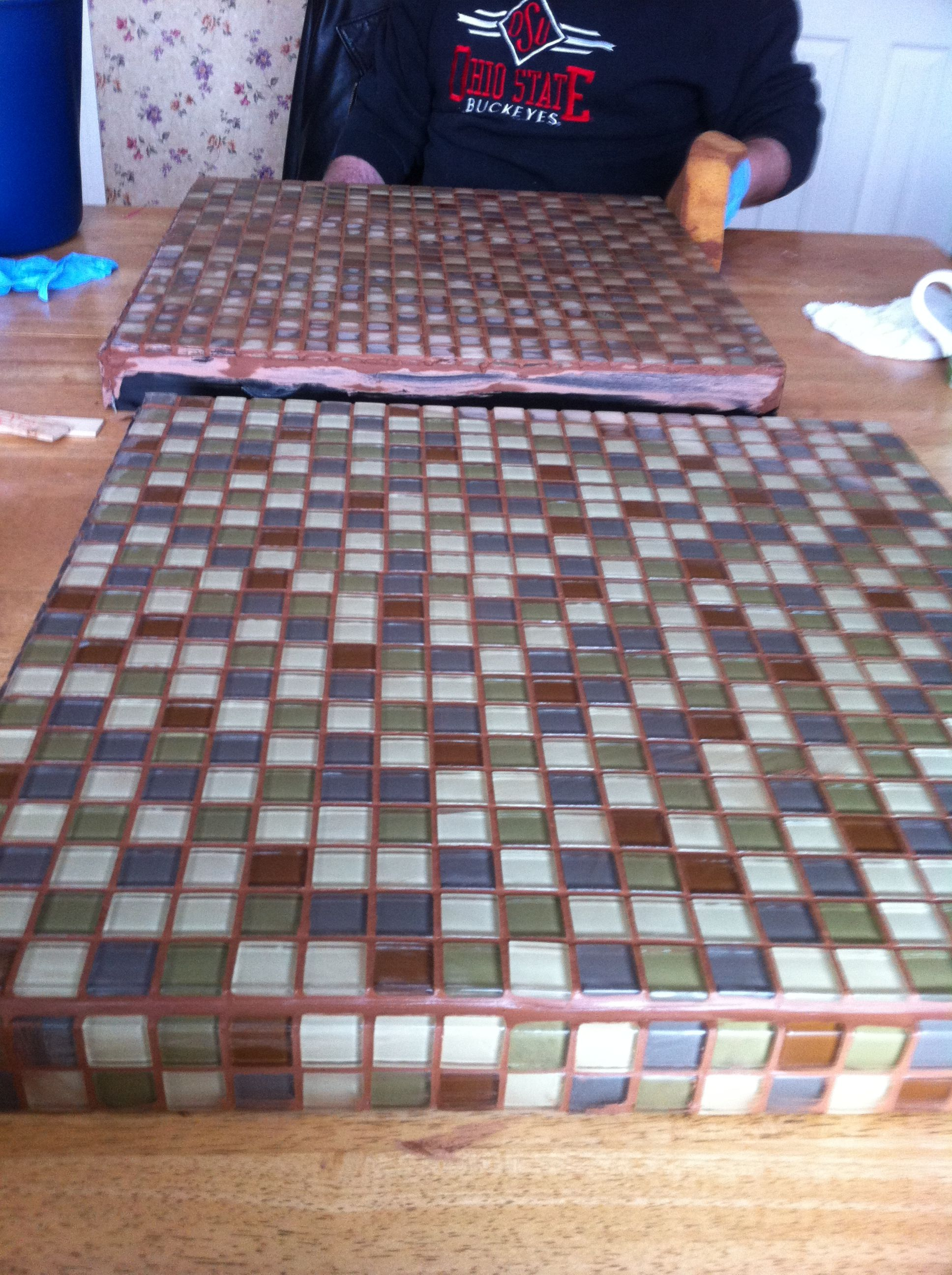 Grouting process of Ikea (Lack) side tables