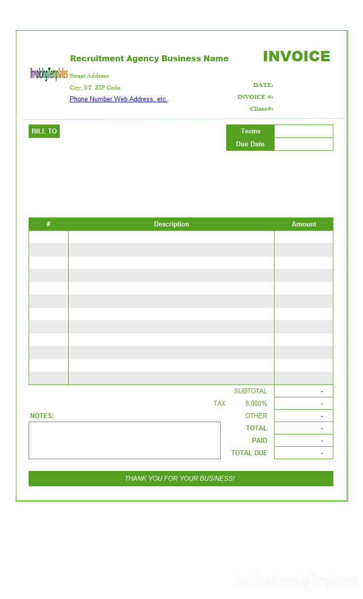 Recruitment Agency Invoice Template In South African Invoice Template 10 Professional Templates Invoice Template Recruitment Agencies Templates Free Design