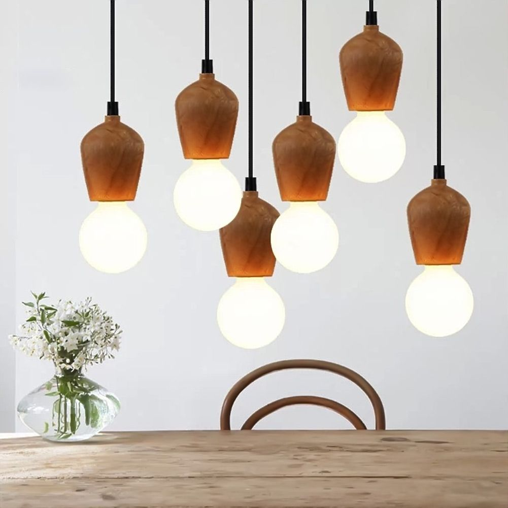 Modern Wood Pendant Lights Dining Room Cord Pendant Lamp Hanging ...